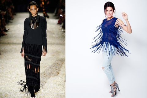 "<p>The swingy '70s trend is so fun to wear, but it can feel like a lot at first. ""If you're not sure if fringe is for you, ease into it with accessories,"" Sazan says. ""Start with a fringe earring, then try a bag. Work your way up to a fringed bootie. Then try a shirt, like me."" A sheer textured top keeps the tassels from feeling heavy; light-blue cuffed jeans lighten things up even further. </p><p><em>AEO Denim X Skinny Jean in Glacier Crush, </em><em><a href=""https://ad.doubleclick.net/ddm/clk/293989448;120297921;y"" target=""_blank"">AMERICAN EAGLE OUTFITTERS</a></em><em>, $49.95; Ronja Fringe Sweater, RONNY KOBO (Available at </em><em><a href=""http://intermixonline.com/"" target=""_blank"">Intermixonline</a>)</em><em>, $310; Silk Flair Balcony Bra </em><em><a href=""http://laperla.com/"" target=""_blank"">LA PERLA</a></em><em>, $332; Raven Metallic with Studs Heel Sandal, </em><em><a href=""http://rebeccaminkoff.com/"" target=""_blank"">REBECCA MINKOFF</a></em><em>, $275; Sterling Silver Cuff with Leather and Mystic Semi-Percious Stones, </em><em><a href=""http://chanluu.com/"" target=""_blank"">CHAN LUU</a></em><em>, $170; Crystal Cluster Earrings, </em><em><a href=""http://cynthiarybakoff.com/"" target=""_blank"">CYNTHIA RYBAKOFF</a></em><em>, $98.</em> </p>"