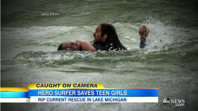 Dramatic Photos Show Hero Surfer Rescuing Drowning Girls in Lake Michigan