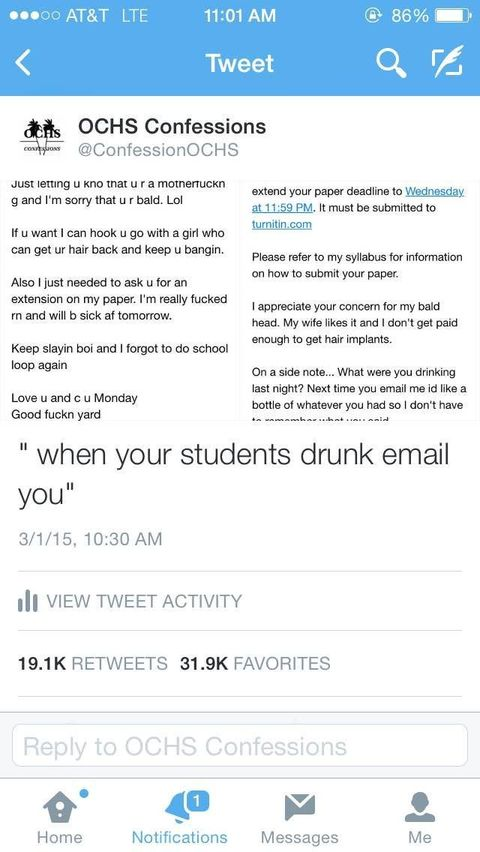 Drunk Student's Email to Teacher Gets an Amazing Response