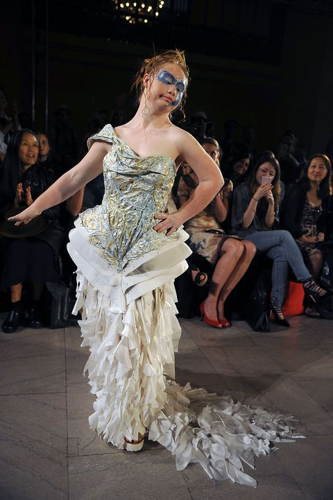 Clothing, Face, Event, Trousers, Fashion show, Dress, Style, Gown, Runway, Fashion model,