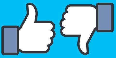 Facebook like and dislike thumbs up