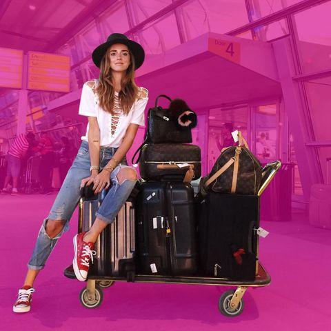 Hat, Magenta, Pink, Sun hat, Style, T-shirt, Purple, Fashion accessory, Bag, Street fashion,