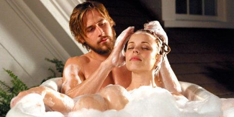 Ryan Gosling and Rachel McAdams in the bath - The Notebook