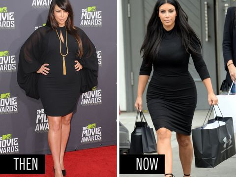 <p>Kim's take on a short black dress with a high neckline and sleeves: Then, with drape-y wings and a statement necklace.  Now, with a classic silhouette and the spotlight on her gorge figure.</p>