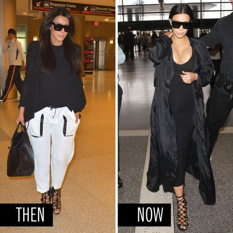 <p>Kim's jetsetter style has always involved easy layers and sky-high shoes. This time around, she upped the glam factor with an ankle-length dress, jacket, and major in-your-face you-know-whats. </p>