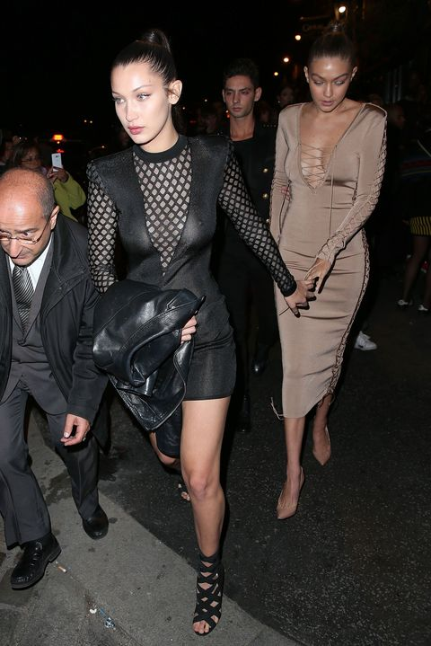 d3287a722a Bella Hadid Bares All in Sheer Dress at Balmain After-Party in Paris