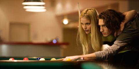 Billiard ball, Billiard table, Indoor games and sports, Pool, Lighting, Fun, Recreation room, Pool player, Room, Recreation,