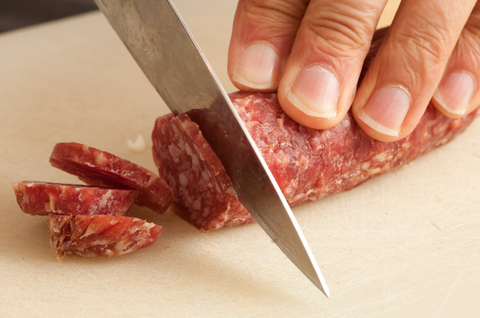 Finger, Food, Ingredient, Animal product, Meat, Kitchen utensil, Cuisine, Nail, Fuet, Red meat,