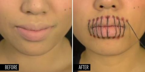 This Super-Creepy Stitched Mouth Makeup Tutorial Is Perfect for Halloween