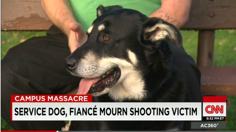 Oregon Shooting Victim's Service Dog Never Left Her Side, Now Comforts Her Fiancé