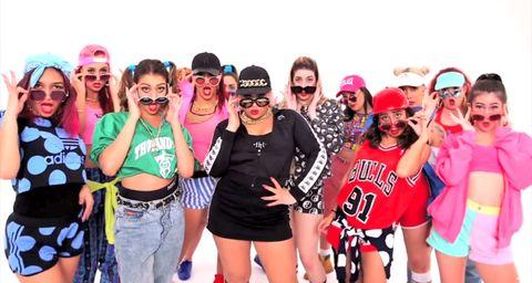 Eyewear, Smile, Product, Social group, Goggles, Pink, Thigh, Magenta, Costume, Abdomen,