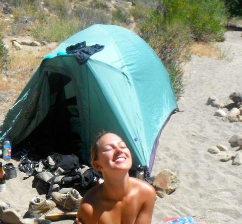 Tent, Camping, Style, Vacation, Rock, Barechested, Sand, Tarpaulin, Hiking equipment, Swimwear,