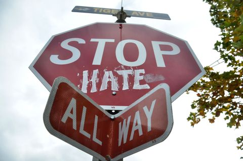 A stop sign on the University of Missouri campus.