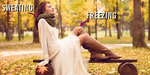 Clothing, Dress, People in nature, Sitting, Street fashion, Deciduous, Photo shoot, Autumn, Wedding dress, Long hair,