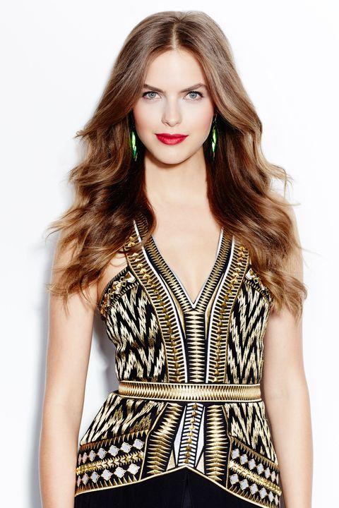 Clothing, Lip, Hairstyle, Sleeve, Shoulder, Photograph, Style, Fashion model, Eyelash, Beauty,