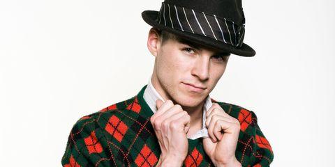 Clothing, Ear, Hat, Plaid, Collar, Chin, Dress shirt, Tartan, Pattern, Textile,