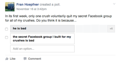 what i learned from putting all of my crushes into a secret facebook