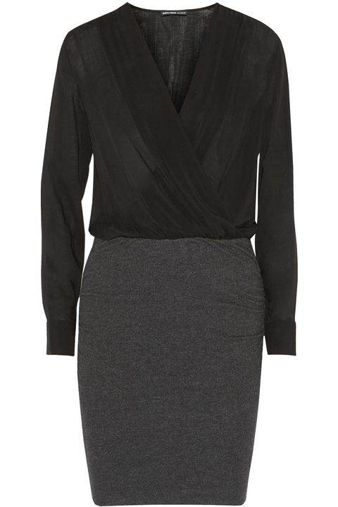 "<p>Low-cut on top, clingy on the bottom, long-sleeved for balance (and climate-appropriateness). Nailed it. <em>James Perse Wrap Effect Dress, $89.99, </em><a href=""http://www.saksoff5th.com/collage-wrap-effect-dress/0400087293884.html"" target=""_blank""><em>saksoff5th.com</em></a></p>"