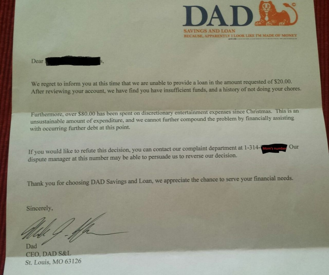 Read the Hilarious Letter a Dad Wrote When His 6-Year-Old Asked for Money