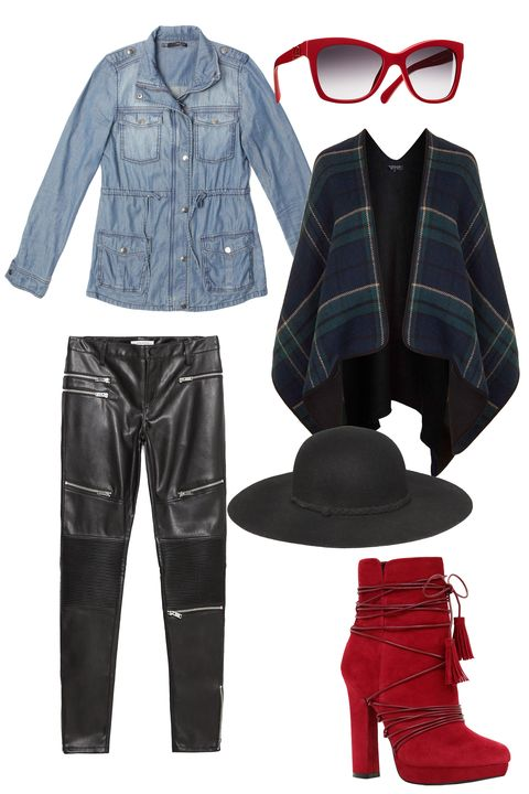<p>Slip that frock on over skinny black leather biker pants. Add flare with a denim anorak, a plaid cape, and bold-hued accessories.<br></p>