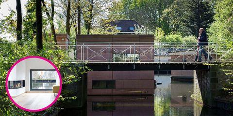 Bridge, Purple, Channel, Reflection, Canal, Bayou, Bailey bridge,