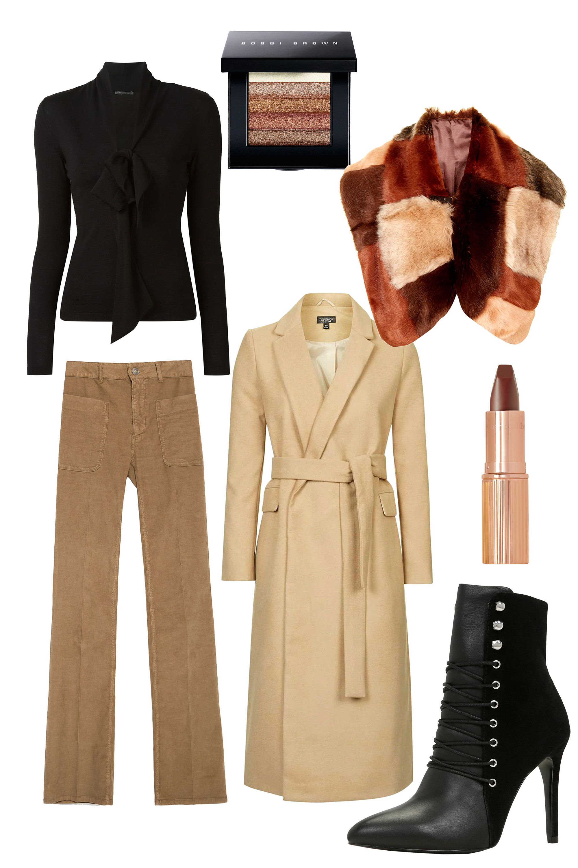 <p>A no-brainer way to get the boho babe look is flared pants — start there and just add accent pieces. Wear them with a '70s-style pussybow sweater, a long waistcoat, a plush fur stole, and a great pair of lace-up booties. You're sure to be the most stylish woman in the room. </p>