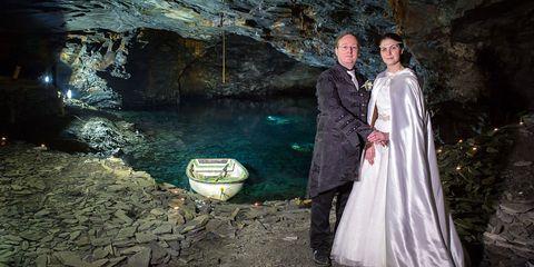 Formal wear, Dress, Gown, Bride, Underground lake, Bridal clothing, Formation, Wedding dress, Victorian fashion, Love,