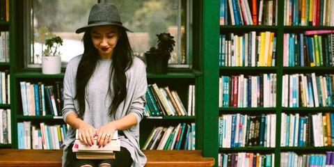 Hat, Publication, Shelf, Shelving, Fashion accessory, Bag, Jacket, Bookcase, Street fashion, Library,