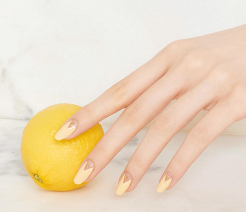 Finger, Yellow, Nail, Fruit, Manicure, Nail care, Nail polish, Ingredient, Citric acid, Citrus,