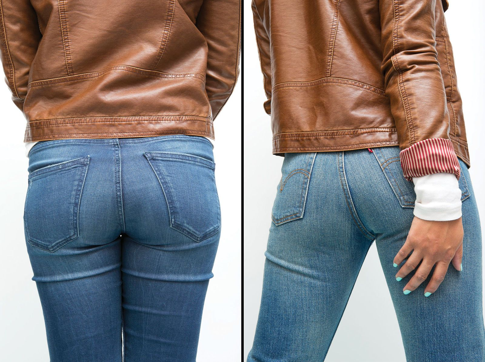 Nice milf booty cheek in jeans shorts