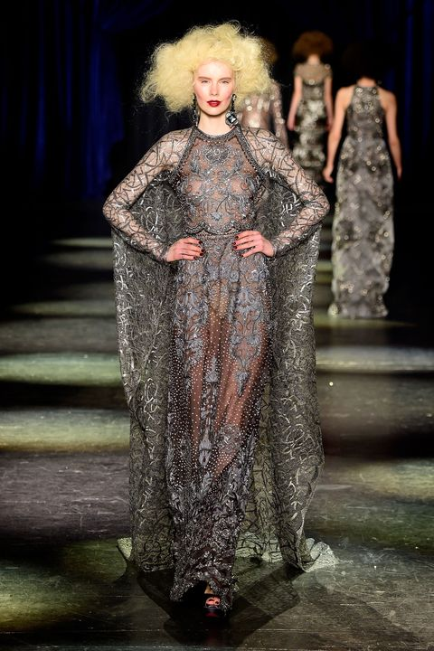 Human, Dress, Fashion show, Runway, Style, Fashion model, Fashion, One-piece garment, Costume design, Haute couture,