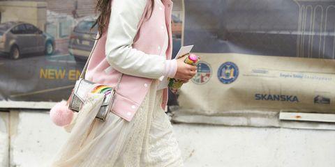Sleeve, Textile, Bag, Pink, Street fashion, Fashion accessory, Luggage and bags, Shoulder bag, Handbag, Bracelet,