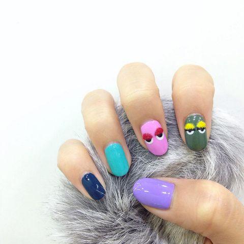 Finger, Blue, Skin, Nail, Nail care, Nail polish, Pink, Manicure, Purple, Magenta,