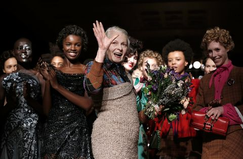 Designer Vivienne Westwood Interrupts Fashion Show to Cover Up Model's Boob on Runway