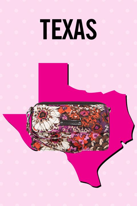 """<p>Texans (along with a gaggle of other super-practical states!) like to keep it tight. This compact number holds it all: phone, cash, credit cards, ID, bosslady business cards, etc.</p><p><span class=""""redactor-invisible-space""""><span class=""""redactor-invisible-space""""></span></span></p><p><strong>Also:</strong> Indiana, Louisiana, Massachusetts, New York, Ohio, Pennsylvania, Tennessee</p><p>$54, <a href=""""http://www.verabradley.com/product/all-in-one-crossbody-and-wristlet-for-iphone-6/camofloral/1004376_204384.uts?Nr=AND%28Content+Type%3Aproduct%29&Ntt=All+in+One+Crossbody+for+iPhone+6%2B"""" target=""""_blank"""">verabradley.com</a></p>"""