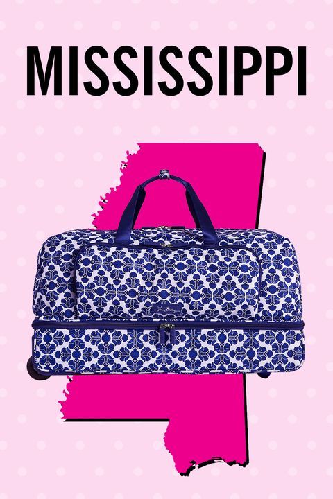 """<p>Guys, a roomy duffel with zip-around compartments and <em>wheels</em>. Mad props for making all of the weekend getaway plans, Mrs. Sippy et al.</p><p><strong>Also: </strong>Connecticut, Kansas, Montana, Nebraska, Puerto Rico</p><p><span class=""""redactor-invisible-space"""">$228, <a href=""""http://www.verabradley.com/product/lighten-up-large-wheeled-duffel-bag/camofloral/1004322_204168.uts?Nr=AND%28Content+Type%3Aproduct%29&Ntt=Lighten+Up+Large+Wheeled+Duffel"""" target=""""_blank"""">verabradley.com</a></span></p>"""