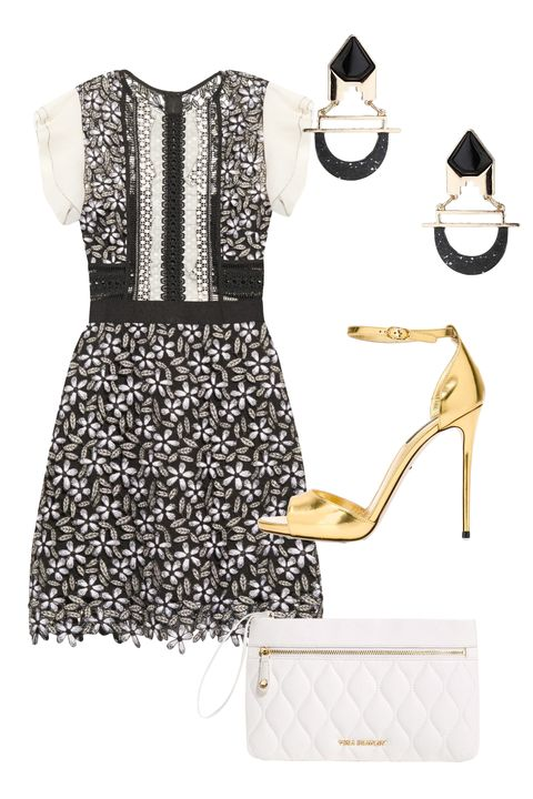 "<p>Work <em>and</em> play in a sexy printed dress, metallic heels, and a cute wristlet for your KWP (keys, wallet, phone).<br></p><p><em><a href=""http://www.matchesfashion.com/us/products/Self-portrait-Adeline-daisy-lace-dress-1045609"" target=""_blank"">Self-Portrait Adeline Daisy-Lace Dress</a>, MATCHES FASHION, $465</em><em>; <a href=""http://www.farfetch.com/shopping/women/dolce-gabbana-metallic-sandals-item-11330601.aspx?storeid=9755&ffref=lp_pic_9_19_"" target=""_blank"">Dolce & Gabbana Metallic Sandals</a>, FAR FETCH, $995; <a href=""http://www.verabradley.com/product/quilted-mia-wristlet/cognac/1003784_201672.uts"" target=""_blank"">Quilted Mia Wristlet</a>, VERA BRADLEY, $118<span class=""redactor-invisible-space""></span></em><em>; <a href=""http://us.topshop.com/en/tsus/product/bags-accessories-1702229/jewelry-70524/semi-precious-curve-bar-drop-5164185?bi=20&ps=20"" target=""_blank"">Semi Precious Curve Bar Drop Earrings</a>, TOPSHOP, $15</em><span class=""redactor-invisible-space""><em></em></span><br></p>"