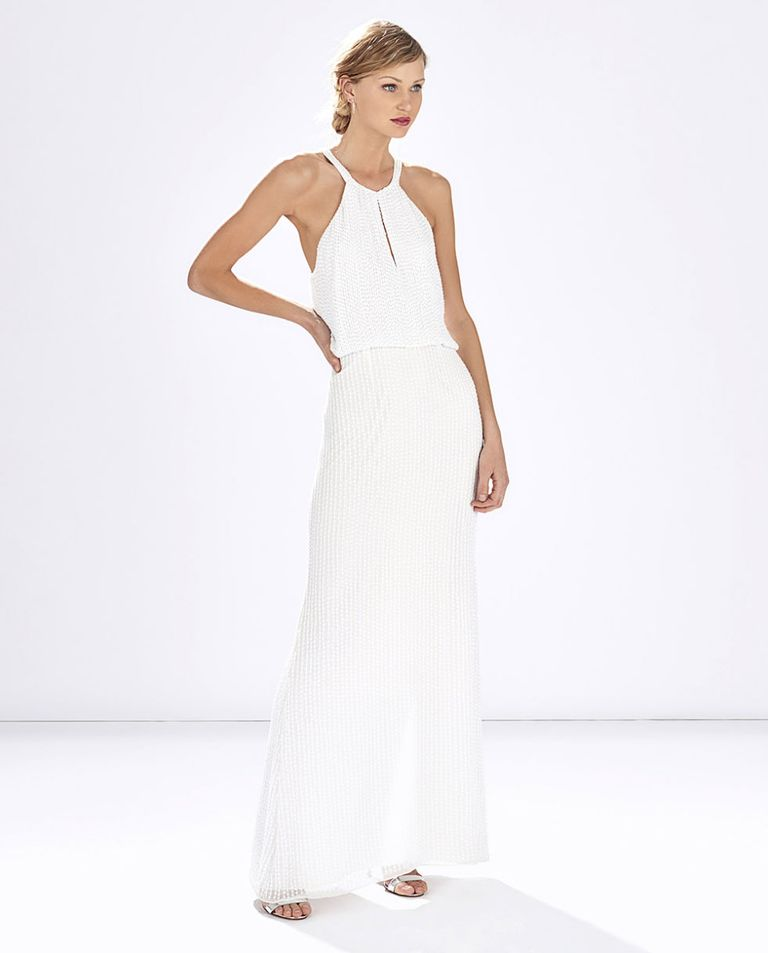 White Beaded Dress Parker