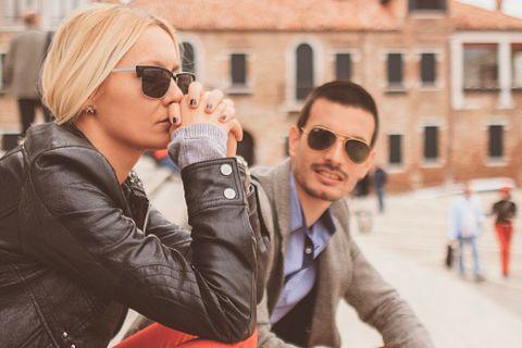 Clothing, Eyewear, Glasses, Vision care, Sunglasses, Jacket, Window, Outerwear, Mammal, Fashion accessory,