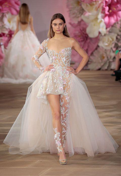 Clothing, Skin, Dress, Shoulder, Bridal clothing, Textile, Gown, Pink, Formal wear, Wedding dress,
