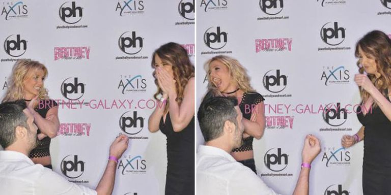 This couple got engaged at a britney spears meet and greet and britney was there and she got involved and she loved it and everything about this is perfect m4hsunfo