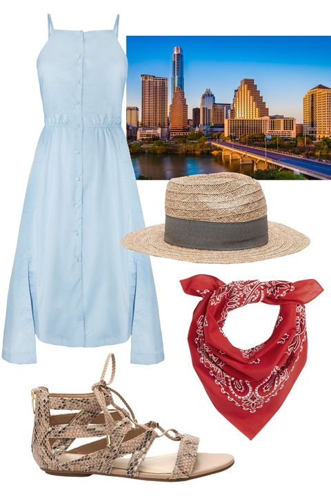 """<p>To see more of the city that hipsters built, head on over to Rainey Street where all the bars are in cute AF houses. An easy shirtdress paired with breezy lace-up flats will fit right in with that laid-back Texas vibe. Then, once you've sipped everything from fancy-schmancy margs to craft brews, keep cool with a straw hat and punchy bandana as you stroll down South Congress Avenue to browse coffee houses and boutiques.</p><p><em><br></em></p><p><em><a href=""""http://www.dsw.com/shoe/marc+fisher+kalysta+gladiator+sandal?prodId=348316&cm_mmc=display-_-Media-Hearst-Spring2016"""" target=""""_blank"""">Kalysta</a>, MARC FISHER, (Available at DSW), $59.95; <a href=""""http://www.pixiemarket.com/joa-baby-blue-button-front-midi-dress.html"""" target=""""_blank"""">Bay Blue Button-Front Midi Dress</a><i>, JOA, (Available at Pixie Market), $68</i>; <a href=""""http://www.zara.com/us/en/woman/accessories/raffia-hat-with-ribbon-c358026p3197565.html"""" target=""""_blank"""">Raffia Hat With Ribbon</a>, ZARA, (Available at Zara), $29.90</em><span class=""""redactor-invisible-space"""" style=""""line-height: 1.6em; background-color: initial;""""><em>; <a href=""""http://us.asos.com/Reclaimed-Vintage-Bandana-Headscarf-Neckerchief/18x1l9/?iid=6240298&affid=14174&channelref=google+shopping&mk=abc&currencyid=2&gclid=Cj0KEQjw09C5BRDy972s6q2y4egBEiQA5_guv7-Oq-sG1by33FN8vymqABfPpVKPwuy2CK93yTdmIAMaAiLf8P8HAQ&mporgp=L1JlY2xhaW1lZC1WaW50YWdlL1JlY2xhaW1lZC1WaW50YWdlLUJhbmRhbmEtSGVhZHNjYXJmLU5lY2tlcmNoaWVmL1Byb2Qv"""" target=""""_blank"""">Bandana Headscarf Neckerchief</a>, RECLAIMED VINTAGE, (Available at ASOS), $10</em></span><br></p>"""