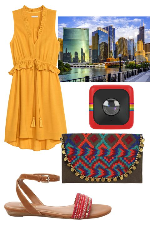 """<p>You won't believe how pretty the view is on the Lake Michigan beach shore. Slip off your sandals and dig your toes into the sand while you watch the lifeguards and fellow beach-goers. Try a flirty mustard-yellow frock  for just the right amount of sophistication and global-inspired accessories to pay respect to Chicago's melting pot of peeps and cultures.</p><p><br></p><p><em><em><a href=""""http://www.dsw.com/shoe/nine+west+adobo+flat+sandal?prodId=353649&cm_mmc=display-_-Media-Hearst-Spring2016"""" target=""""_blank"""">Adobo</a>, NINE WEST, (Available at DSW), $49.95; </em><a href=""""http://www.hm.com/us/product/44285?article=44285-B&clickid=3uxQUZyFoXPT1Cr3VhS2Ox5cUkSWxkSZMUy2zw0&iradid=226427&utm_content=Skimbit%20Ltd.-10078&utm_campaign=Online%20Tracking%20Link&iradtype=ONLINE_TRACKING_LINK&irmpname=Skimbit%20Ltd.&irmptype=mediapartner&utm_medium=affiliate&utm_source=ir&irgwc=1"""" target=""""_blank"""">Ruffled Dress</a>, H&M, $39.99; <a href=""""http://www.boohoo.com/bags/boutique-embellished-clutch-bag/invt/azz01988?cj_linkd=11668114&cj_webid=5431261&cj_sid=skim74968X1525071Xd8cb533e14ee6b8d1905bcc17b3d6117&cj_affid=3449840&cj_affname=Skimlinks&utm_source=COMMISSIONJUNCTION&utm_medium=affiliates&utm_term=5431261&cm_mmc=affiliates-_-commissionjunction-_-5431261-_-alpha&source=CJ"""" target=""""_blank"""">Boutique Embellished Clutch Bag</a>, BOOHOO BOUTIQUE, $24<span class=""""redactor-invisible-space"""">; <a href=""""http://www.bestbuy.com/site/polaroid-cube-lifestyle-hd-action-camera-red/8766201.p?id=1219365670010&skuId=8766201"""" target=""""_blank"""">Cube HD Action Camera</a>, POLAROID (Available at Best Buy), $99<span class=""""redactor-invisible-space""""></span></span></em></p>"""
