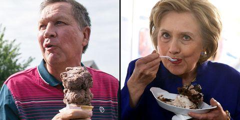 john kasich and hillary clinton eat ice cream