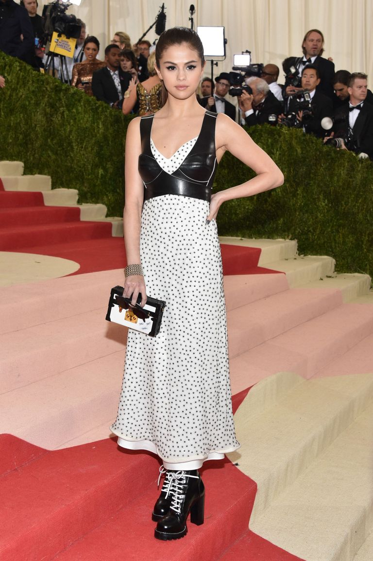 Selena Gomez in Black and White Louis Vuitton Dress at the 2016 Met Gala