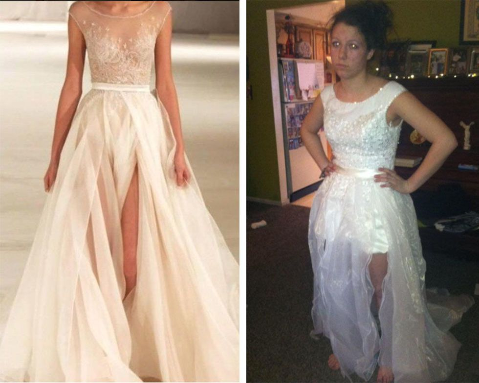 2. This Cream Gown Closely Resembles A Shredded, Plastic Trash Bag.