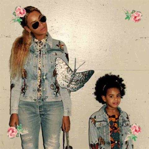 b4d453b3d Beyoncé and Blue Ivy Wore Matching Custom Gucci Denim Jackets