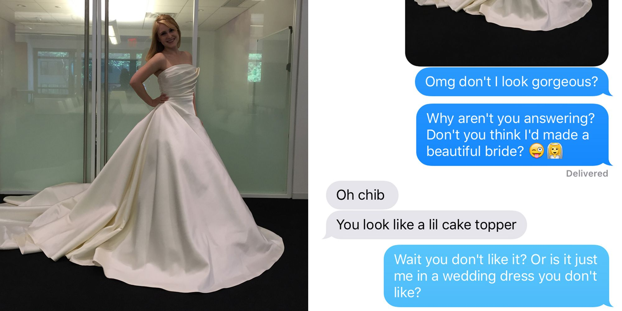 13 Women Texted Photos Of Themselves In Wedding Dresses To Their
