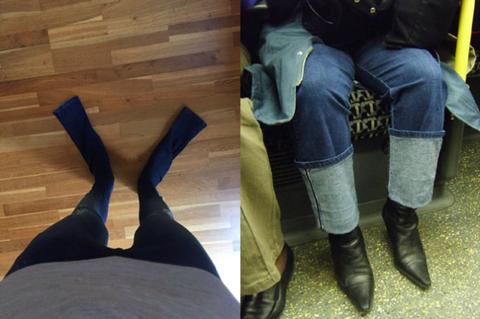 Human, Denim, Human leg, Jeans, Hardwood, Boot, Riding boot, Leather, Street fashion, Wood flooring,