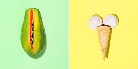 Yellow, Green, Colorfulness, Ingredient, Cone, Peach, Still life photography, Paint, Macro photography,